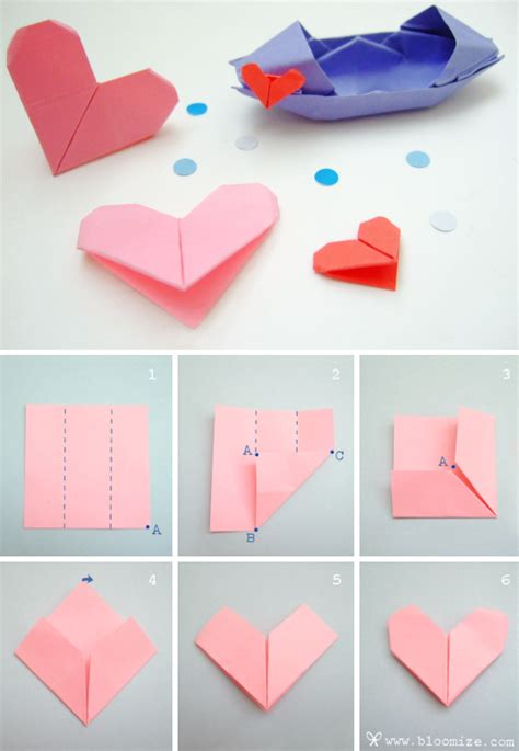 Simple Origami Hearts - another sweet origami bloomize