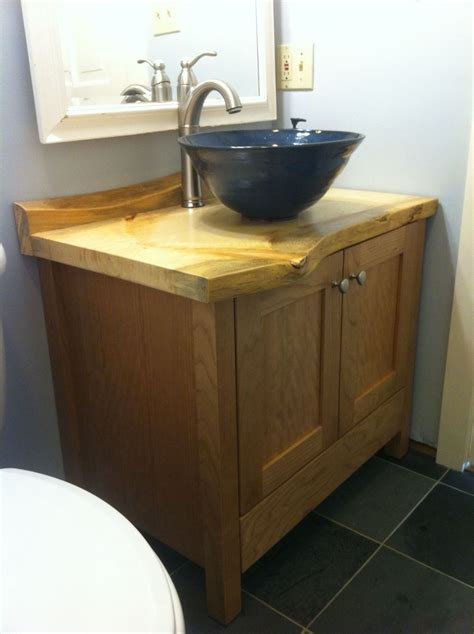 Bathroom Vanity Counter Custom Made Cherry Bathroom Vanity With Live Edge Pine Counter By Wooden Hammer Llc