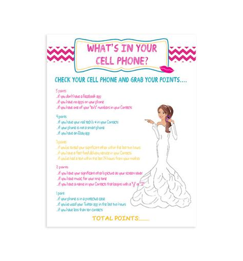 printable bridal shower cell phone game printable bridal shower game what s in your cell