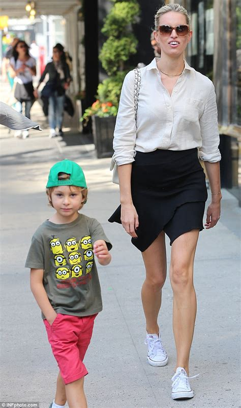 Karolina Kurkova and son Tobin Jack Drury wear shorts on a New York City walk   Daily Mail Online