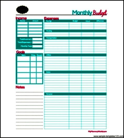 sle monthly budget template free download sle