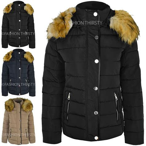 Jaket Winter Winter Coat Jaket Parka 58 womens quilted winter coat puffer fur collar jacket parka size new ebay