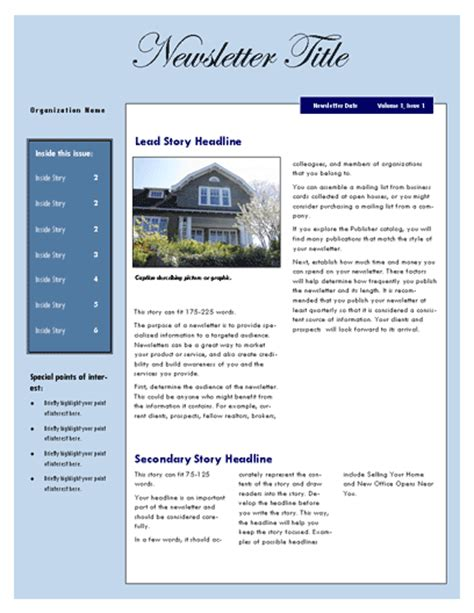 microsoft newsletter templates free free real estate newsletter template newsletter