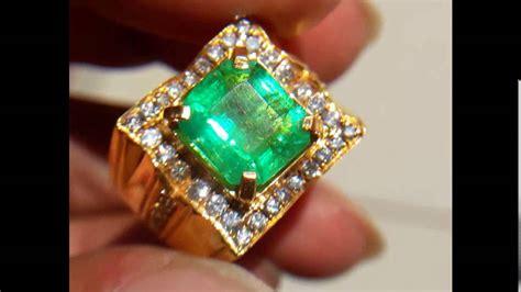 Cincin Pria Lapis Emas Batu Zambrud 676 cincin pria zamrud colombia berlian eropa emas kuning