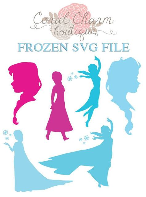Printable Flexfolie | svg frozen anna elsa silhouettes file by