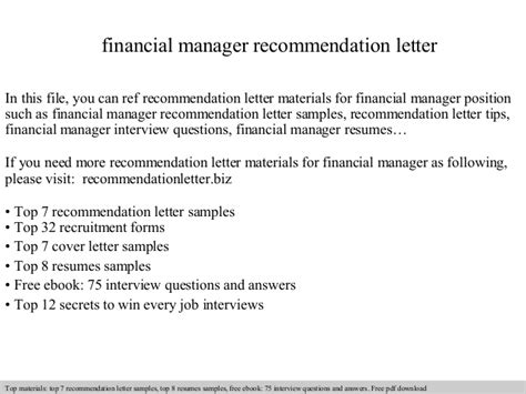 Finance Manager Recommendation Letter Financial Manager Recommendation Letter