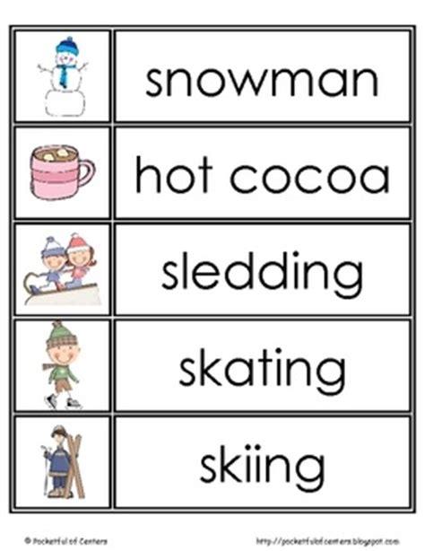 FREE Winter word wall cards    Kindergarten Winter Ideas
