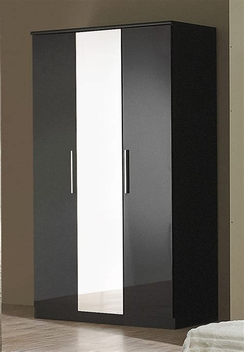 Wardrobes Black by Black High Gloss 3 Door Wardrobe Homegenies