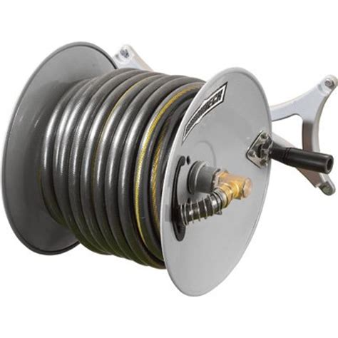 Wall Mount Garden Hose Reel Holds 150ft X 5 8in Hose Garden Hose Reels Wall Mounted
