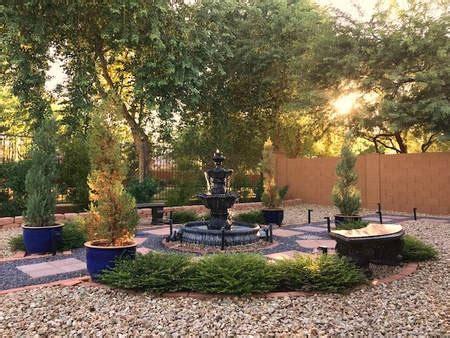 mediterranean garden backyard landscape fountain pergola