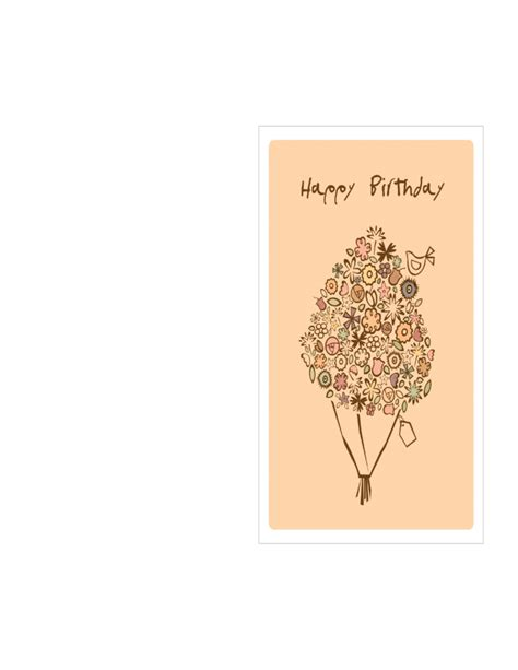 Happy Birthday Card Template by Birthday Card Template Happy Birthday Bouquet Free