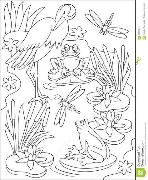 clipart bianco e nero pagina con l illustrazione in bianco e nero della palude