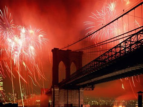 york brooklyn bridge red fireworks  night desktop