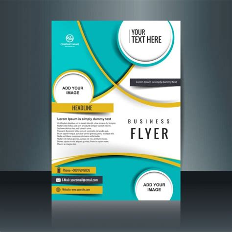 business flyer template with circular shapes vector free