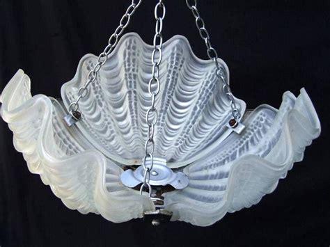 1930s deco white opaque shell ceiling light