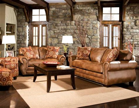 Rustic Livingroom Furniture Rustic Living Room Furniture Set With Brown Leather Sofa