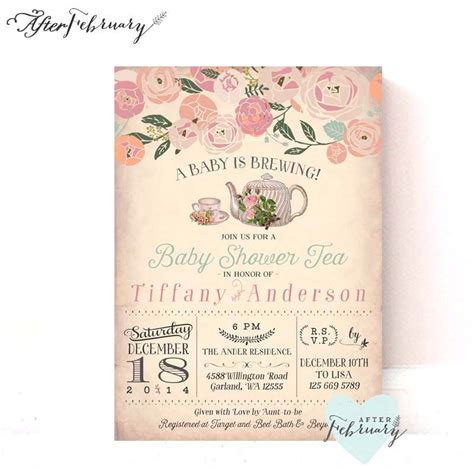 Tea Baby Shower Invites by Baby Shower Tea Invitation A Baby Is Brewing