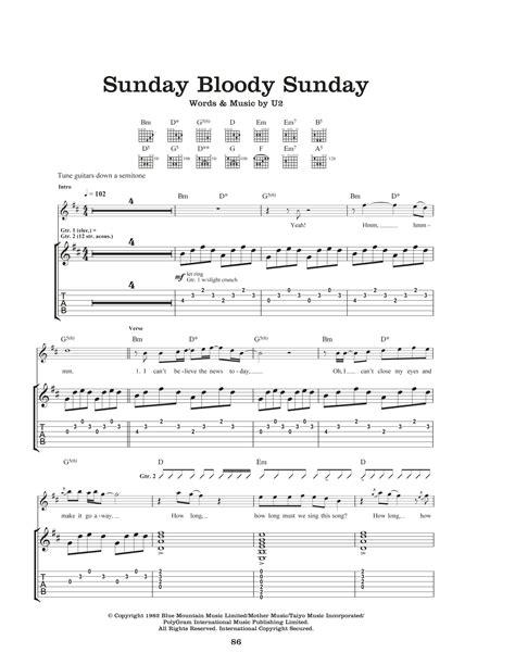 my bloody chords sunday bloody sunday by u2 guitar tab guitar instructor