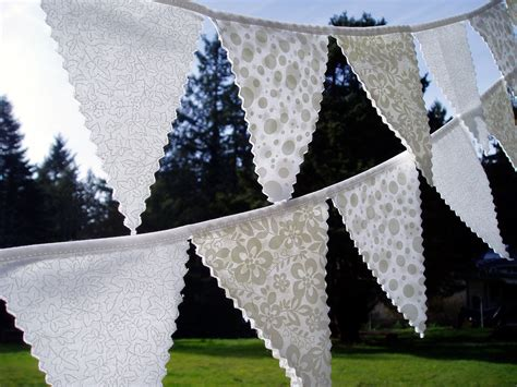 simply pretty white wedding bunting flag set 2 strands