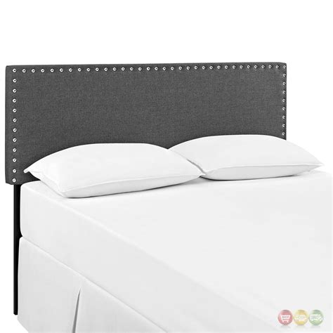 silver headboard queen phoebe square queen fabric headboard with silver nailheads