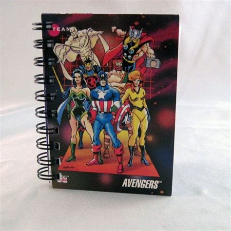 Avenger Note Book mini notebook recycled trading cards