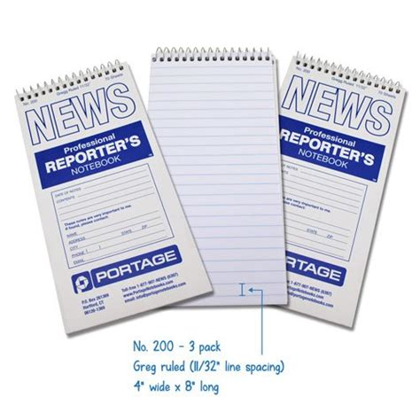 Reporters Notebook Template by Seller Profile Portage Notebooks Llc