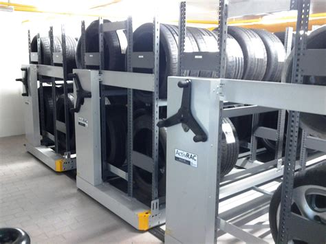 Tire Rack Rotation by Benefits Of Mobile Shelving For Auto Parts Storage