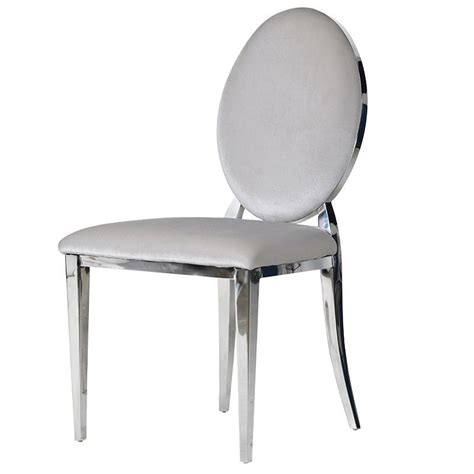 Silver Dining Chair Silver Chrome Oval Dining Chair Mulberry Moon