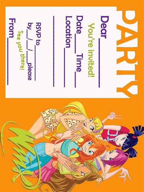 winx club fairis printable party invitation