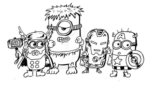marvel minions coloring pages minion avengers by kleinaar on deviantart