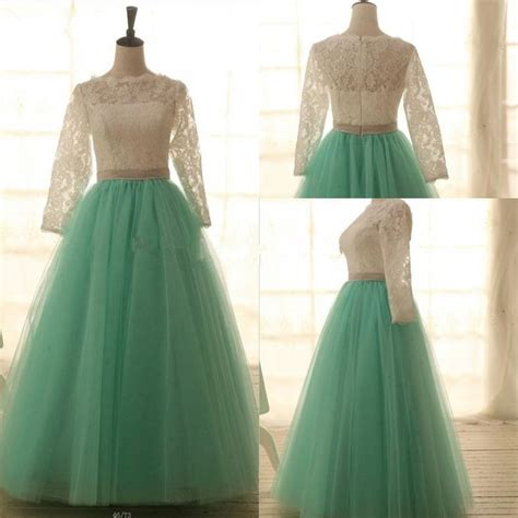 Handmade Dresses - gorgeous handmade lace and mint tulle gown prom