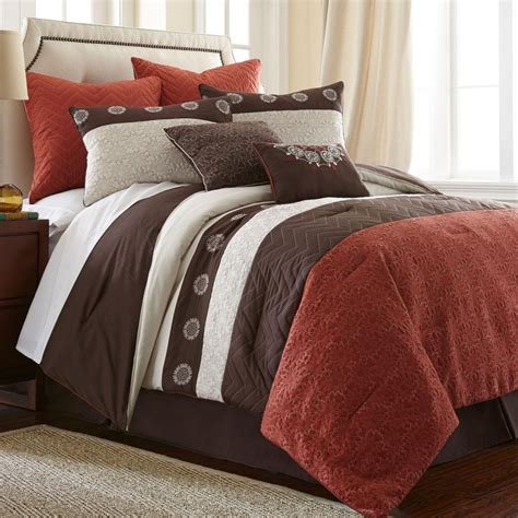 bright to burnt orange and brown comforter bedding sets