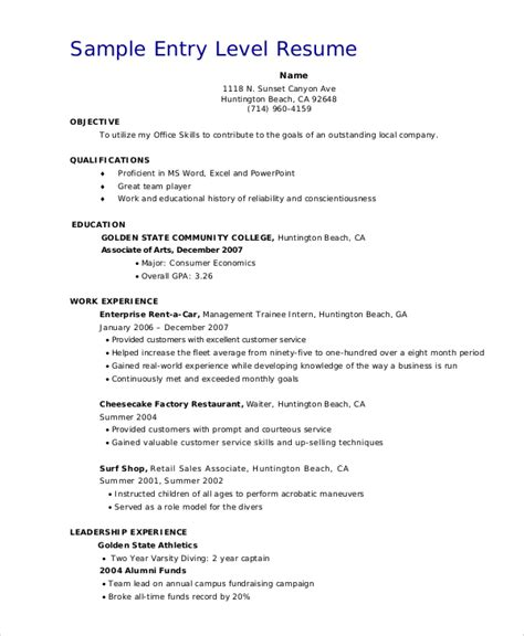 entry level resumes best resumes