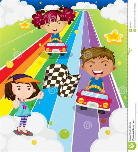 Spiele F R Kinder Autorennen by Drei Kinder Die Autorennen Spielen Stockbild Bild 33689631