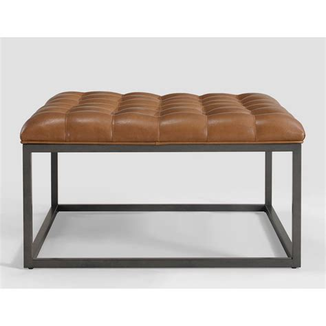overstock leather ottoman healy saddle brown leather tufted ottoman