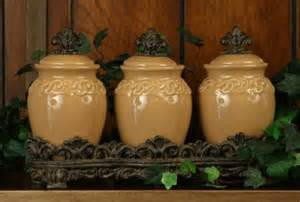Tuscan Style Kitchen Canisters by Set Of 3 Design Butterscotch Spice Jars Ceramic