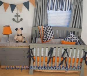 Neutral Nautical Baby Bedding Navy Orange And Grey Crib Bedding In A Nautical Nursery Gender Neutral Crib Bedding