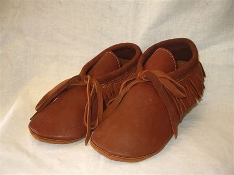 Handcrafted Moccasins - leather moccasins with fringe in rust deerskin custom by