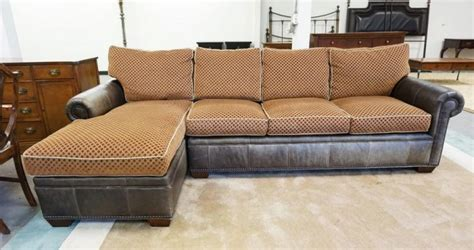 drexel heritage leather collection sofa with chaise lounge e