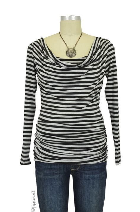 Baju Stripe Blouse Es baju sleeve cowl neck maternity nursing top in grey black stripe