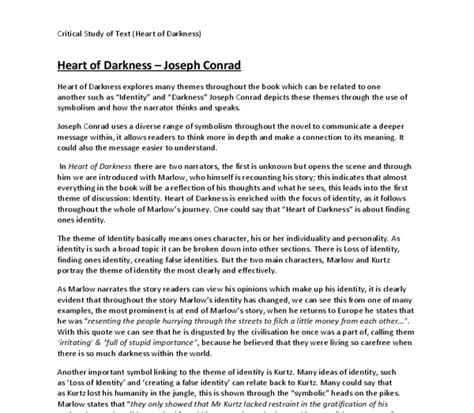Of Darkness Critical Essay by Of Darkness Critical Analysis Gcse Marked By Teachers