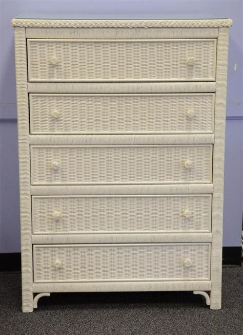 white wicker 5 drawer chest 5 drawer painted white wicker chest of drawers with glass to
