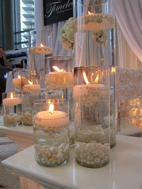Elegant Diy Pearl And Candle Centerpieces Floating Water Pearl Centerpieces