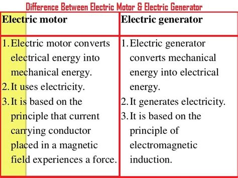 electric motor and generator difference difference between electric motor electric generator