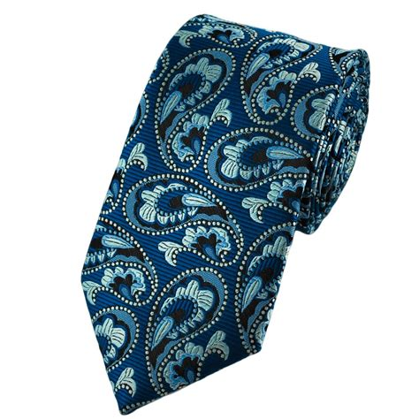 blue patterned ties electric blue silver grey paisley patterned tie from