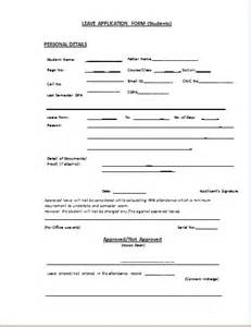 leave application template student leave application form template document templates