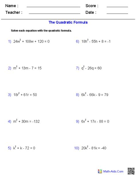 Quadratic Equations Worksheet algebra 1 worksheets quadratic functions worksheets
