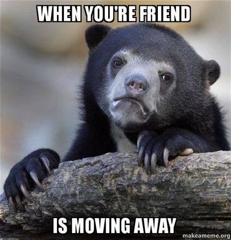Moving Away Meme - when you re friend is moving away confession bear make