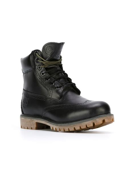 black timberland boots for timberland brogue detail boots in black for lyst