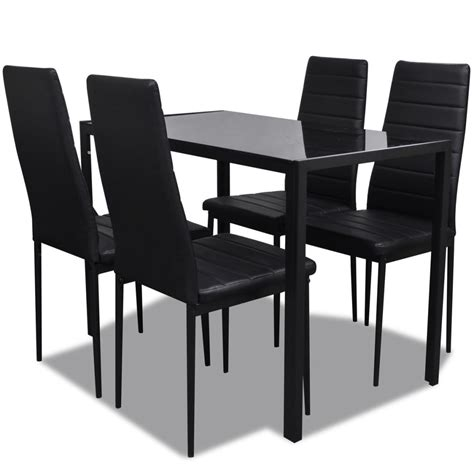 Vidaxl Co Uk Contemporary Dining Set With Table And 4 Black Dining Table Set